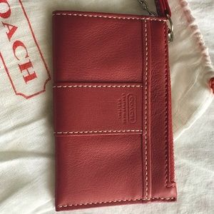 Coach Red Leather Key Chain Wallet.  Never used!!!